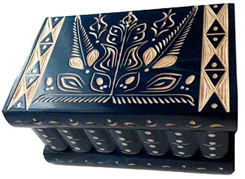 Box jewelry box blue large new puzzle carved wooden ...